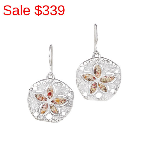Sterling Silver Pink Sand Flower Drop Earrings