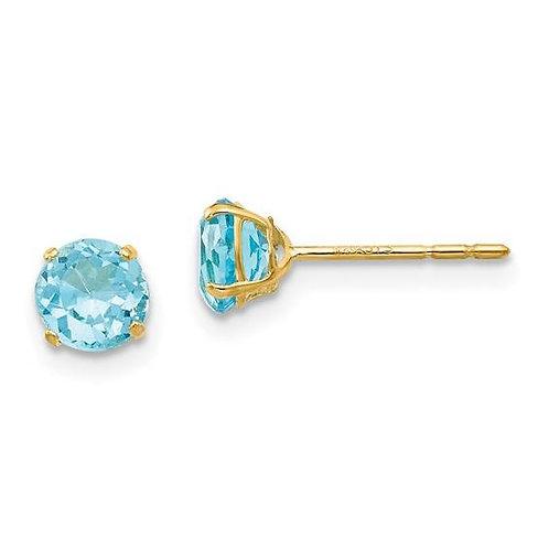 14K Gold Round Blue Topaz Earrings