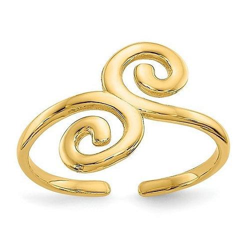 14K Gold Swirl Toe/Thumb Ring