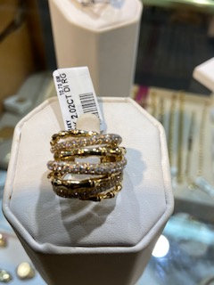 14K Gold 2.02ctw Diamond Bamboo Ring