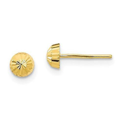 14k Gold diamond cut 4mm Earrings