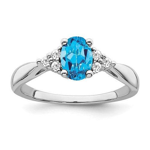 14K Blue Topaz Ring