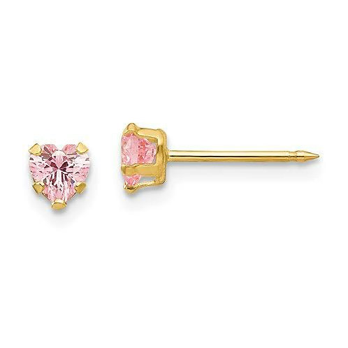 14k Gold Earrings with Pink CZ