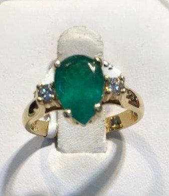 14K Gold 2.03ct Emerald .20ctw Diamond Ring