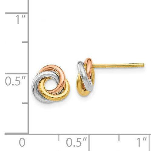 14k Gold Tri-color Knot Earrings 3