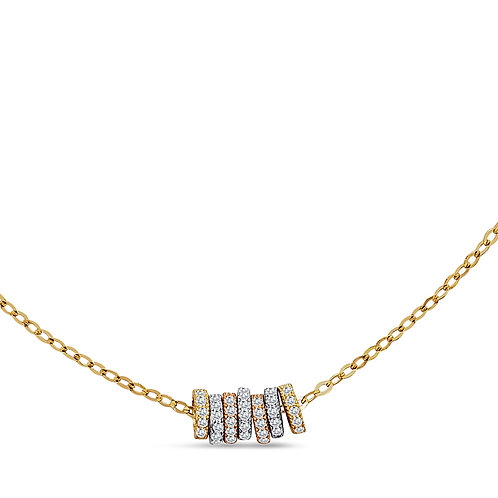 14K Gold Seven Pendant CZ Necklace