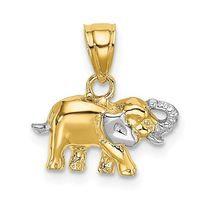 14K Gold Elephant Two Tone Charm/Pendant