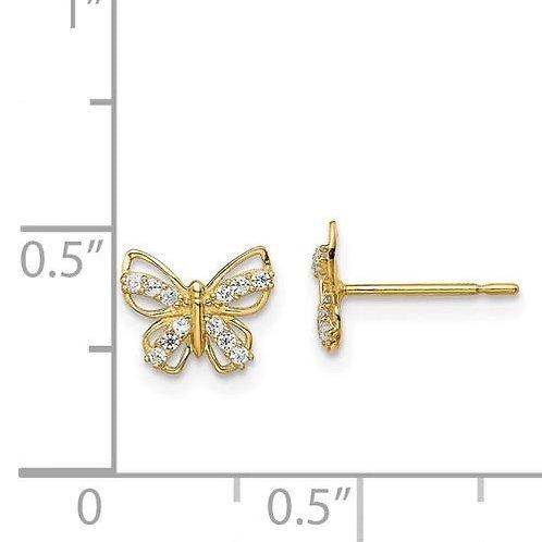 14k Gold CZ Butterfly Earrings 4