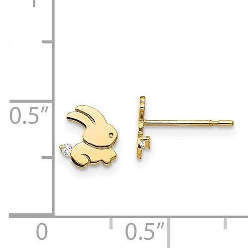14k Gold CZ Rabbit Children's Earrings