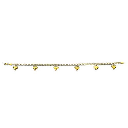 14K Gold Dangling Heart Anklet