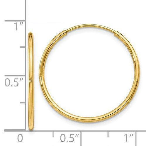 14k Gold 1.25mm Sleeper Hoop Earrings