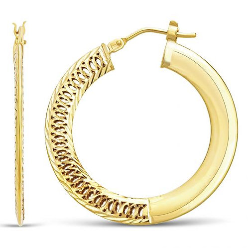 14K Gold 2.8GR Flat Fancy Cut Hoop Earrings