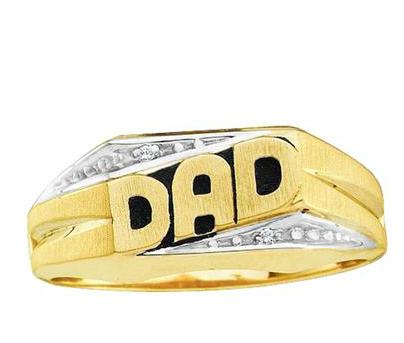 10K .01ct Diamond Dad Ring