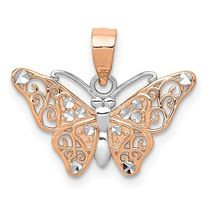 14K Gold Butterfly Two Tone Charm/Pendant
