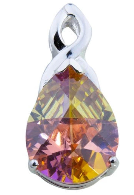 Sterling Silver Bermuda Lucky Stone Pear Shape Pendant