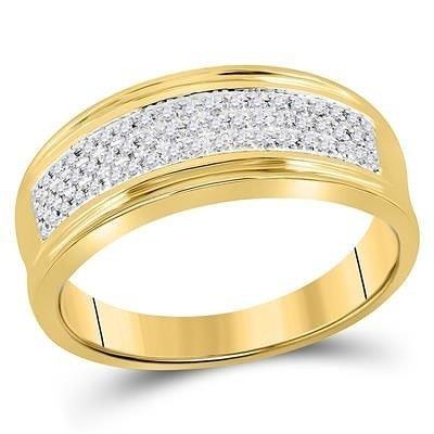14K Gold & Diamond Band Men's Ring