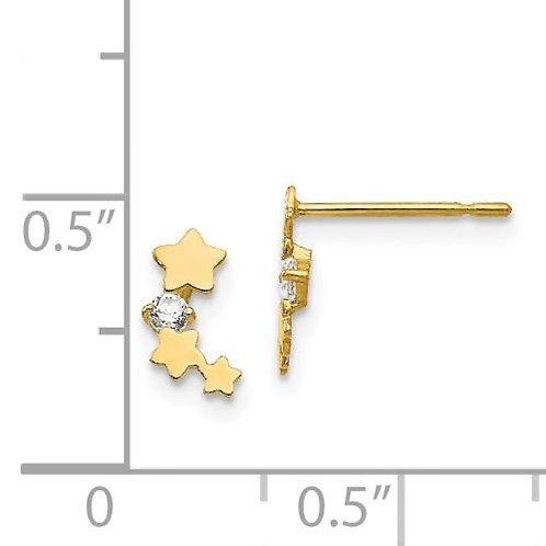 14k Gold CZ Star Children's Earrings