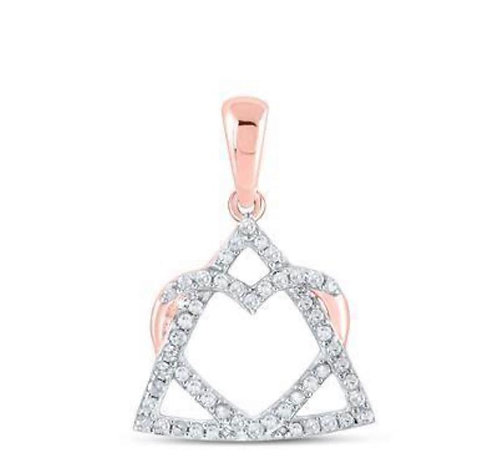 Gold Heart In Triangle Pendant