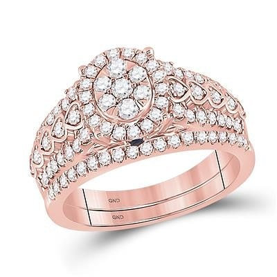 14K Rose Gold & Diamonds Oval Shaped Ring
