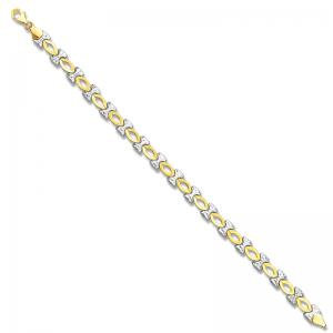 14K Gold White and Yellow Bow Bracelet