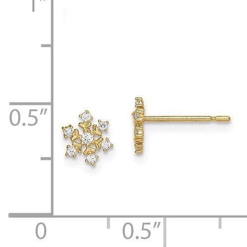 14k Gold CZ Snowflake Earrings