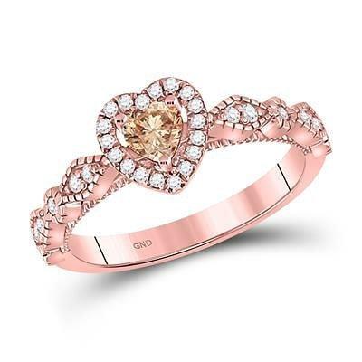 14K Rose Gold & Diamond Heart Ring