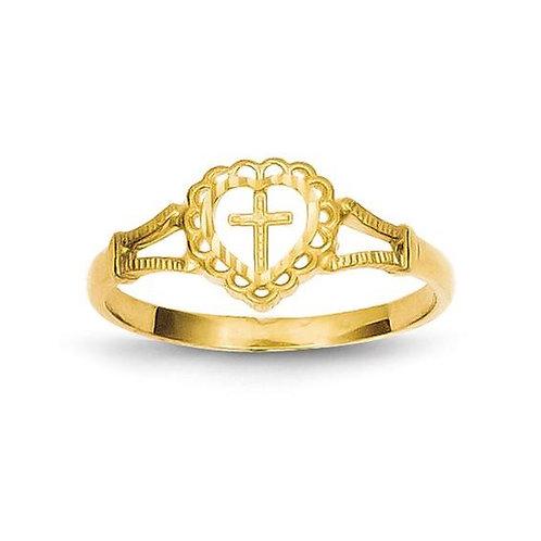 14K Gold Children's Cross Ring