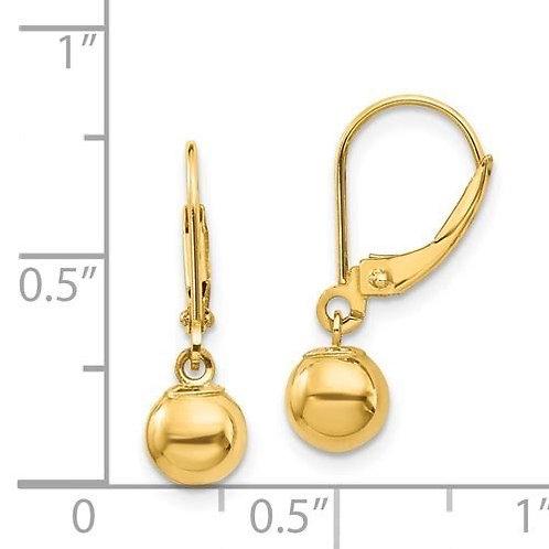 14k Gold 6mm bead Drop Earrings