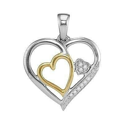 Sterling Silver .05ctw Diamond Heart Pendant