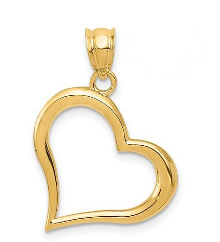 14K Gold Dangling Heart