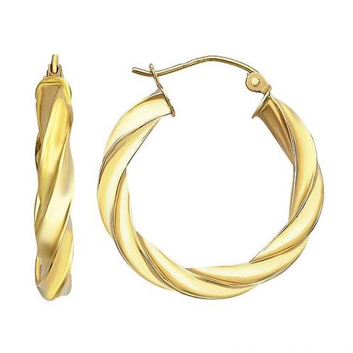 14K Gold Twisted Hoop Earrings 25MM