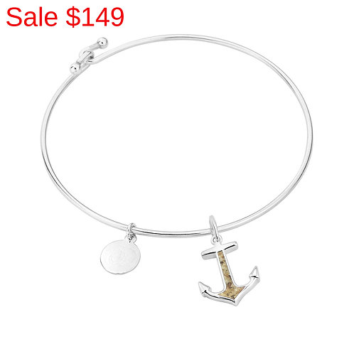 Sterling Silver Pink Sand Anchor Bangle