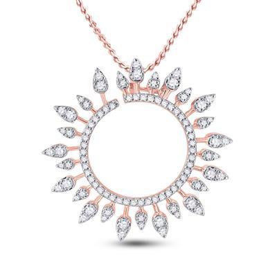 14K Rose Gold .75ctw Diamond Sun Pendant