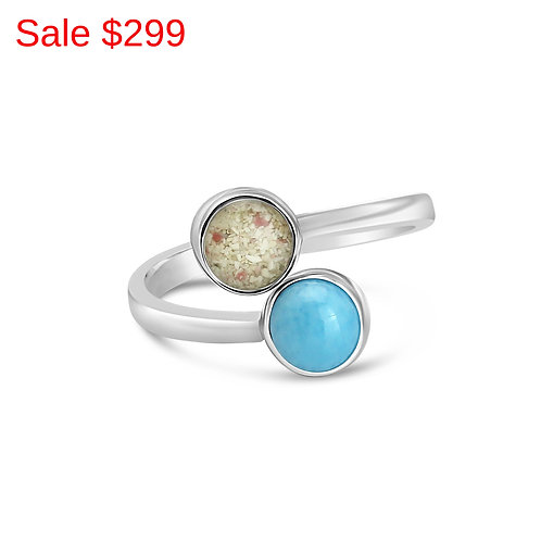Sterling Silver Pink Sand Larimar Double Round Ring