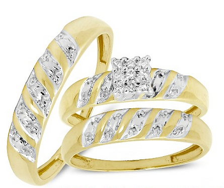 10K Gold Trio Set .15ctw Diamonds