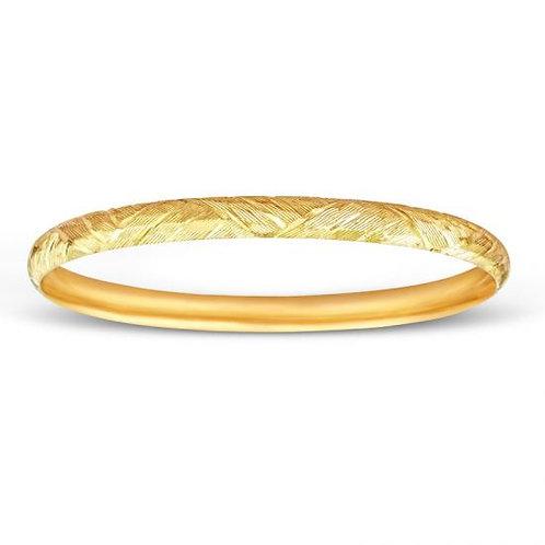 14K Gold Diamond Cut Designer 6.1MM Bangle