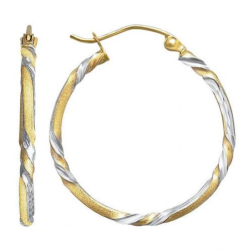 14K Gold 1.6GR Half Twisted Hoop Earrings