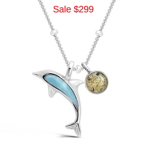 Sterling Silver Pink Sand Larimar Dolphin necklace