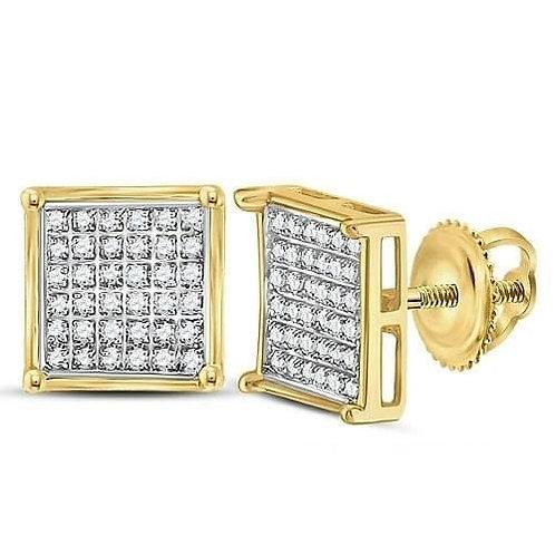 10K Gold .16ctw Diamond Square Earrings