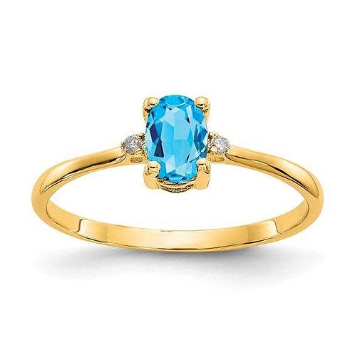 14K Gold Oval Blue Topaz Ring