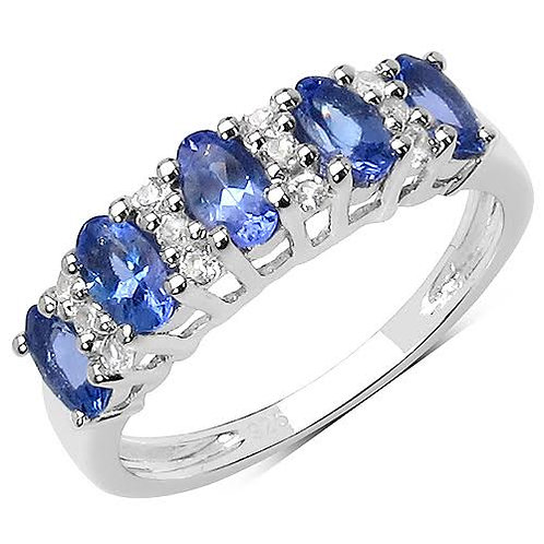 Sterling Silver 1.51ctw Tanzanite and White Topaz Ring