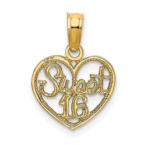 14K Gold Sweet 16 Heart Charm