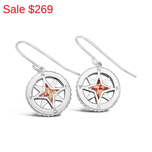 Sterling Silver Pink Sand Compass Drop Earrings
