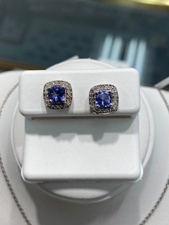Sterling Silver Tanzanite & white topaz set includes ring, earrings and pendant