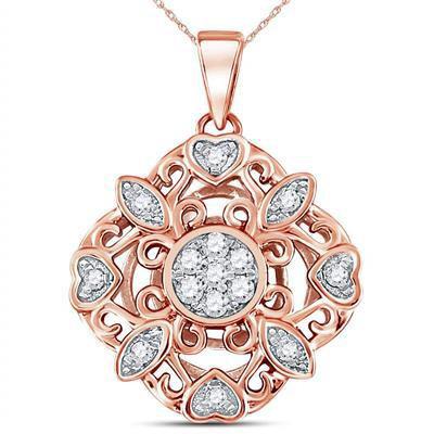 Rose Gold & Diamond Vintage Style Pendant