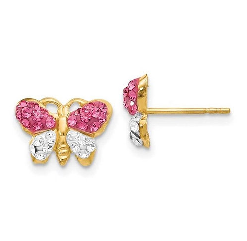 14K Gold Pink CZ Butterfly Earrings