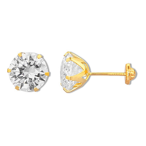 14K Gold 9MM Cubic Zirconia Screw back Stud Earrings