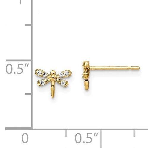 14k Gold CZ Dragonfly Earrings 3