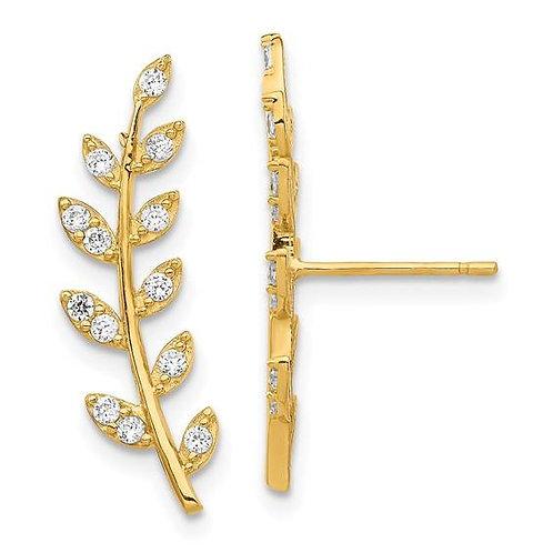 14K Gold Leaf Climber Earrings