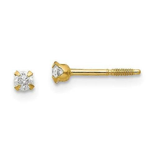 14k Gold CZ Baby Screw Back Earrings